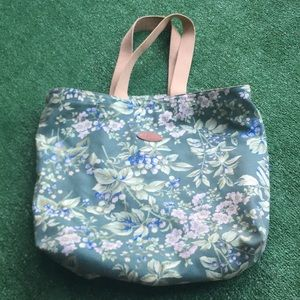 Vintage Laura Ashley tote canvas bag berry print